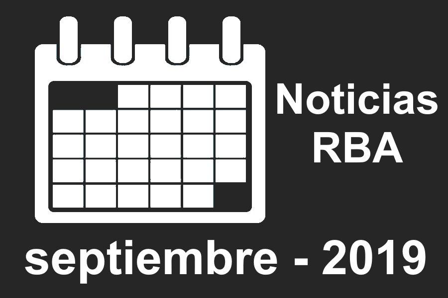 Noticias RBA del mes de septiembre 2019